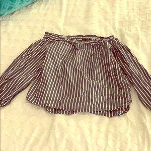 J Crew cold shoulder striped blouse
